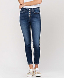 Women's High Rise Button Up Ankle Skinny Jeans