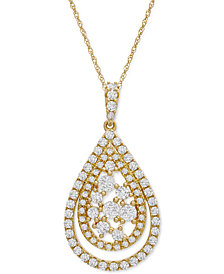 """Diamond Teardrop Cluster 18"""" Pendant Necklace (1 ct. t.w.) in 14k Gold or 14k White Gold"""