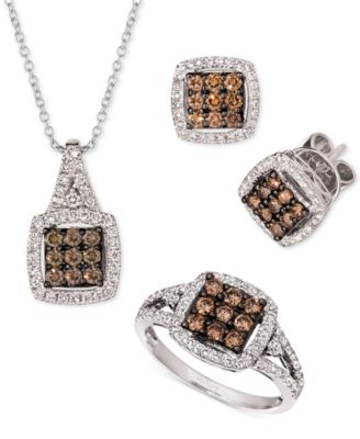 Chocolate Diamond & Nude Diamond Square Cluster Statement Ring (3/4 ct. t.w.) in 14k White Gold