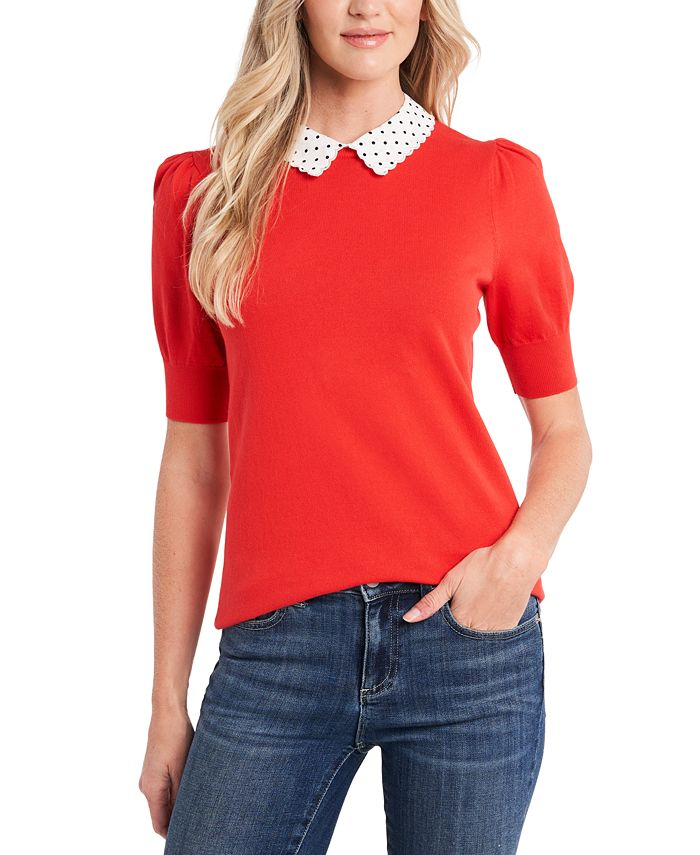 CeCe - Cotton Collared Puff-Sleeve Sweater