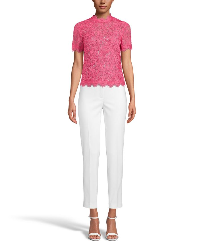 Anne Klein - Lace Scalloped-Trim Top