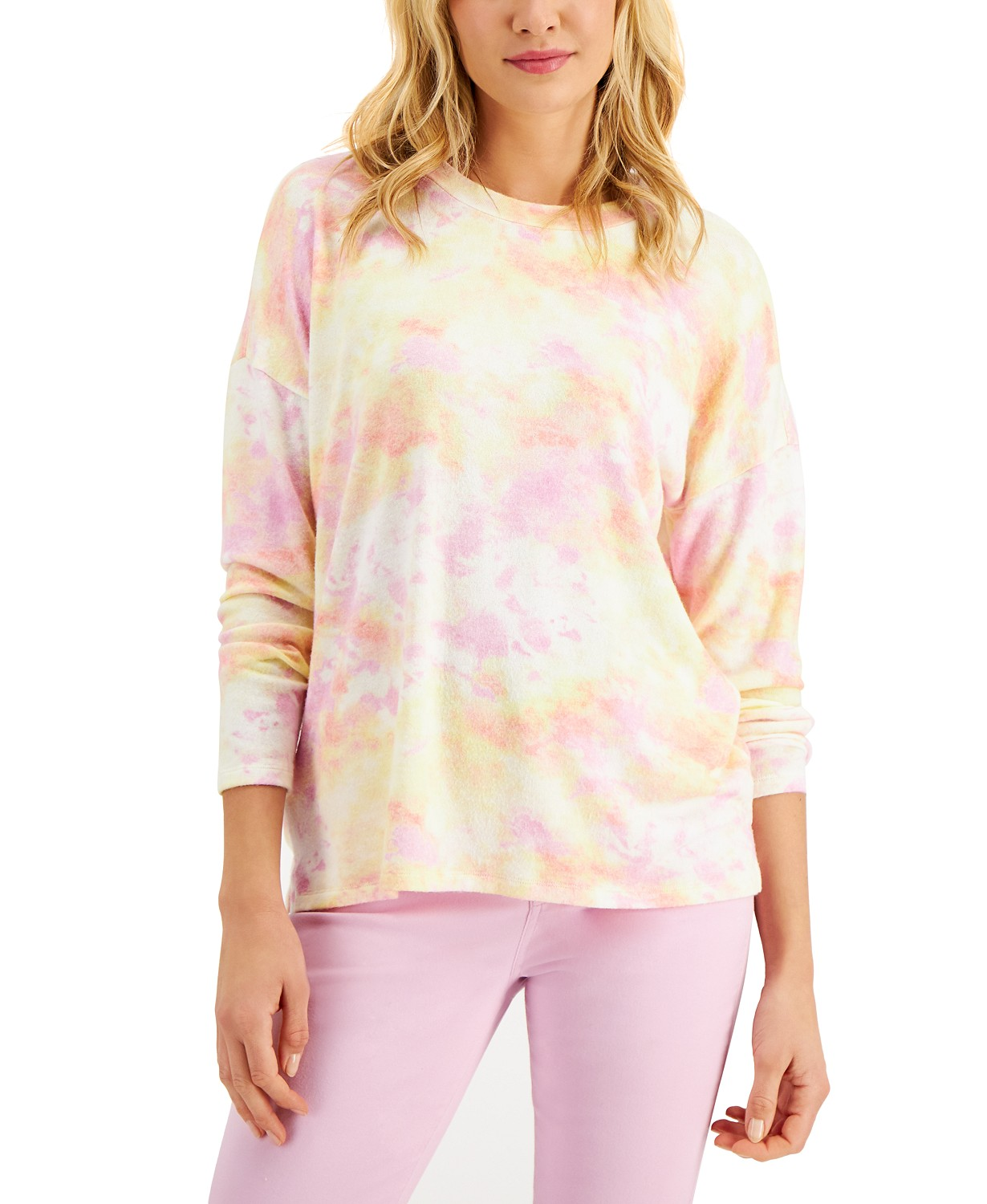 Style & Co Tie-Dyed Crewneck Top, Created for Macy's