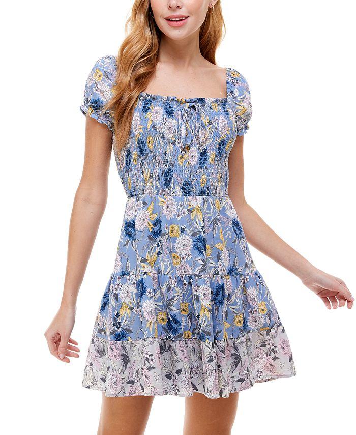 City Studios - Juniors' Tiered Floral-Print Dress