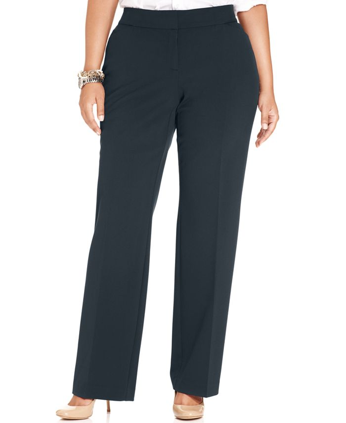 JM Collection - Plus Size Curvy-Fit Straight-Leg Trousers