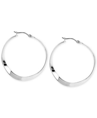 Medium Silver-Tone Sculptural Hoop Earrings