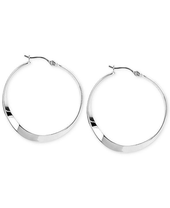 Robert Lee Morris Soho Medium Silver-Tone Sculptural Hoop Earrings