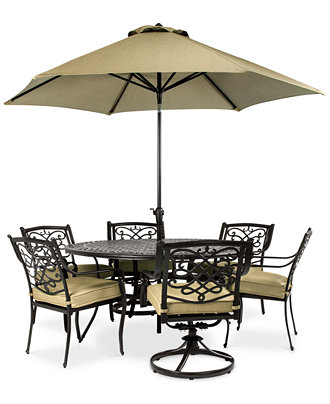 Wentley Patio Furniture Outdoor 7 Piece Set 4 Dining