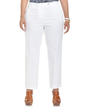 Charter Club Plus Size Extended-Tab Ankle-Length Pants