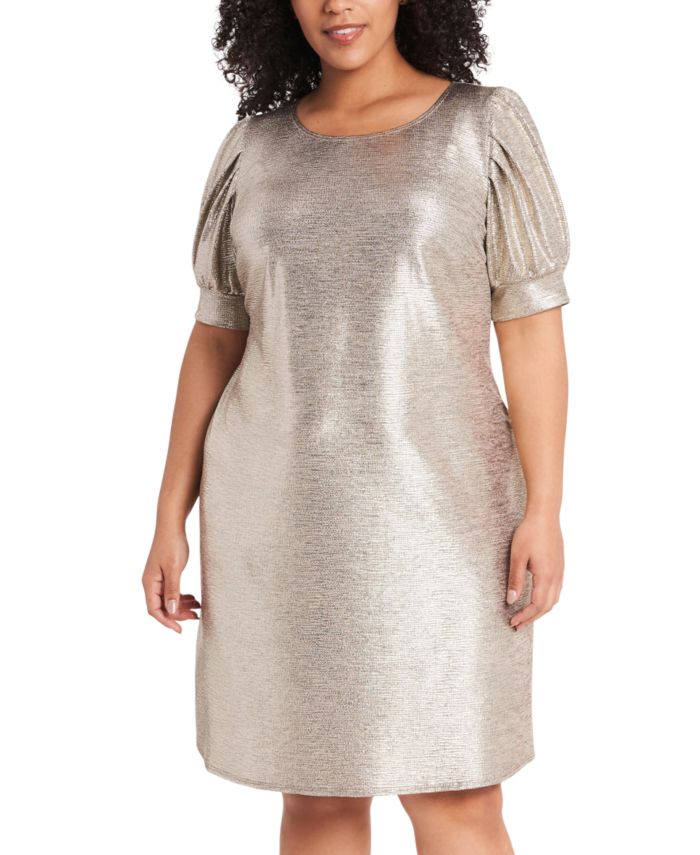 MSK Plus Size Foil-Knit Puff-Sleeve Dress & Reviews - Dresses - Plus Sizes - Macy's