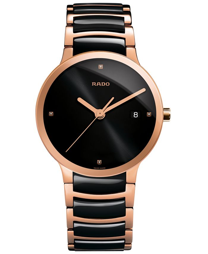 Rado - Men's Swiss Centrix Diamond Accent Black Ceramic and Rose Gold-Tone PVD Stainless Steel Bracelet Watch 38mm R30554712