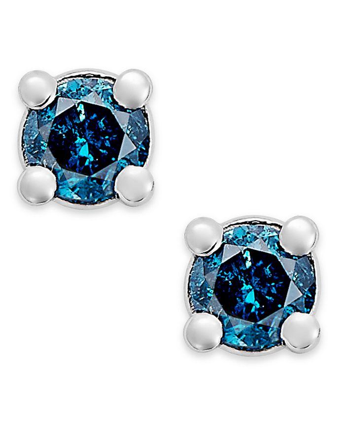 Macy's - 10k White Gold Blue Diamond Stud Earrings (1/10 ct. t.w.)