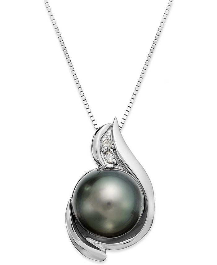 Macy's - 14k White Gold Tahitian Pearl (8-1/2mm) and Diamond Accent Pendant Necklace