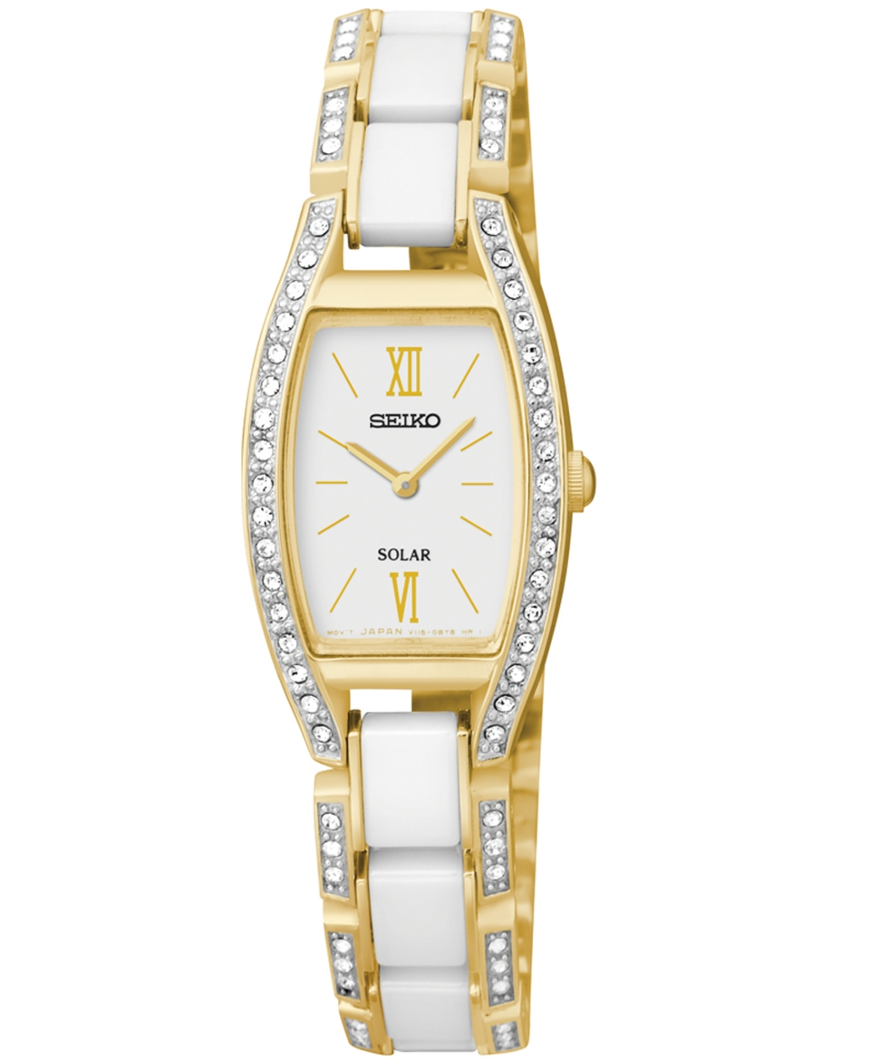 Seiko Womens Solar White Ceramic and Gold Tone Stainless Steel Bangle Bracelet Watch 19mm SUP224   Watches   Jewelry & Watches