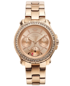 Juicy Couture Women's Pedigree Rose Gold-Tone Stainless Steel Bracelet Watch 32mm 1901106