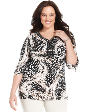 Jm Collection Plus Size Three-Quarter-Sleeve Animal-Print Tunic Top