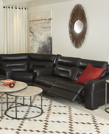 Judson Leather Sectional Living Room Furniture Collection Power Reclining