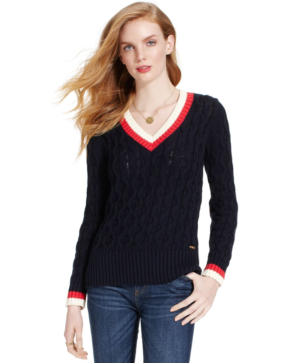 Tommy Hilfiger Long Sleeve Colorblocked Button Shoulder Sweater   Sweaters   Women