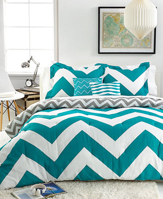 Chevron Teal 5 Piece Comforter Sets Bed In A Bag Bed
