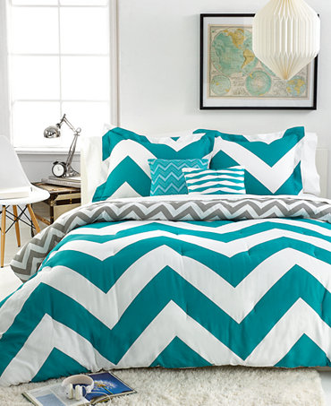 Chevron Teal 5 Piece Comforter Sets Bed In A Bag Bed Bath Macy