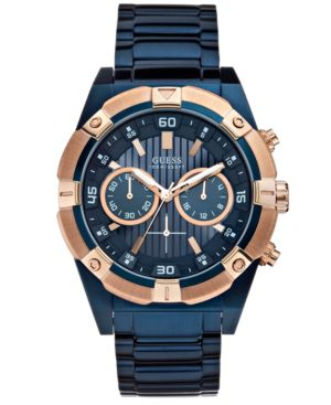 Guess Men's Chronograph Blue-Tone Stainless Steel Bracelet Watch 44mm U0377G4