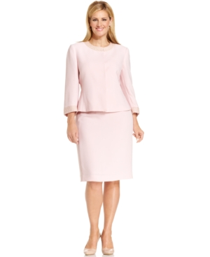 Tahari by ASL Plus Size Collarless Beaded Skirt Suit