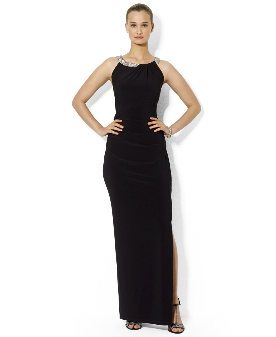 Lauren Ralph Lauren Petite Sleeveless Beaded Gown   Dresses   Women