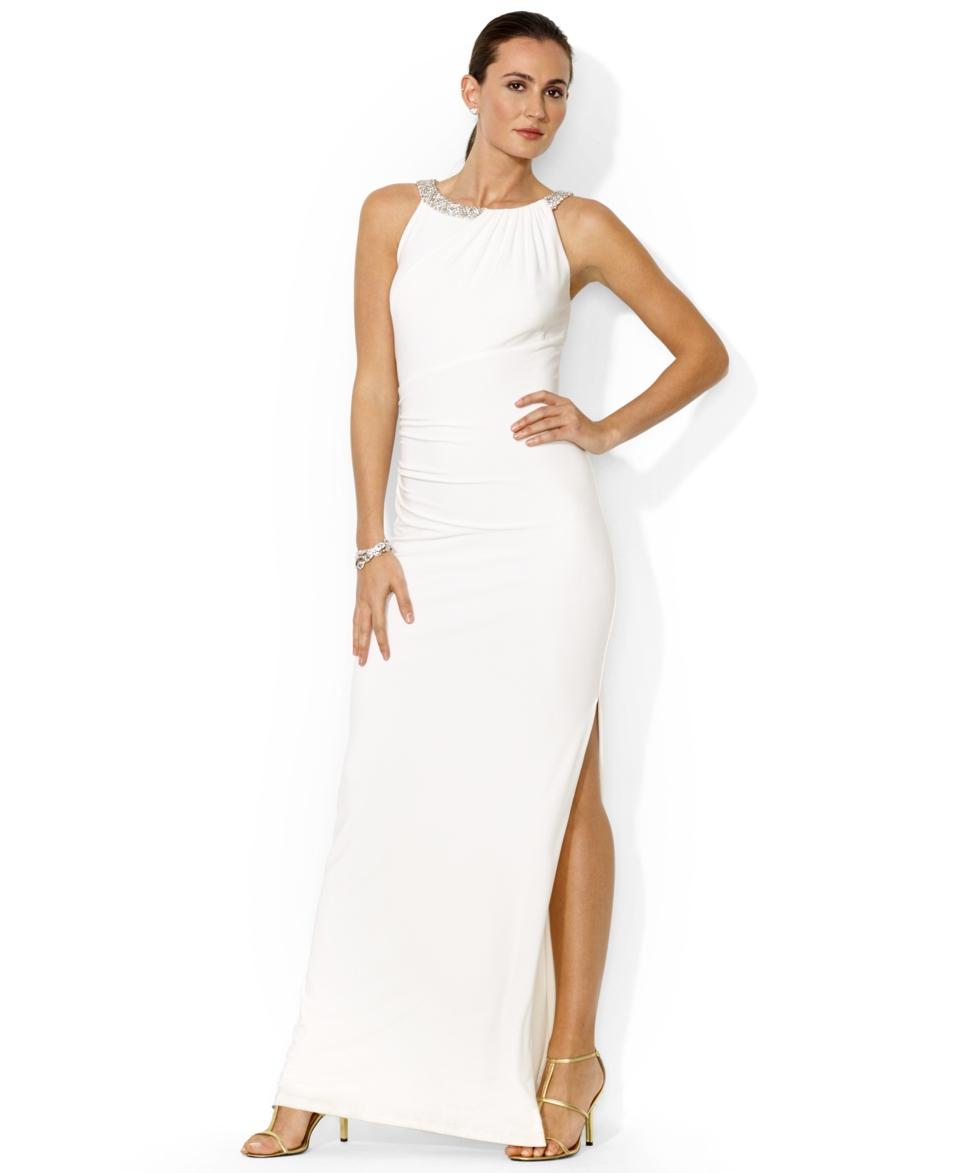 Lauren Ralph Lauren Sleeveless Beaded Gown   Dresses   Women