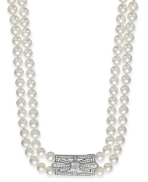 Arabella Bridal Cultured Freshwater Pearl (6-1/2mm) and Swarovski Zirconia (2-3/8 ct. t.w.) Two-Row Necklace in Sterling Silver