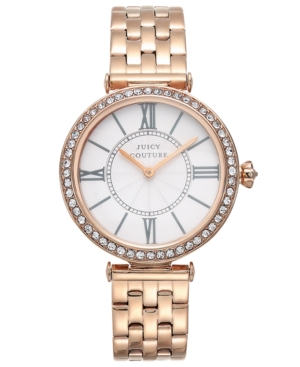 Juicy Couture Women's J Couture Rose Gold-Tone Stainless Steel Bracelet Watch 34mm 1901128