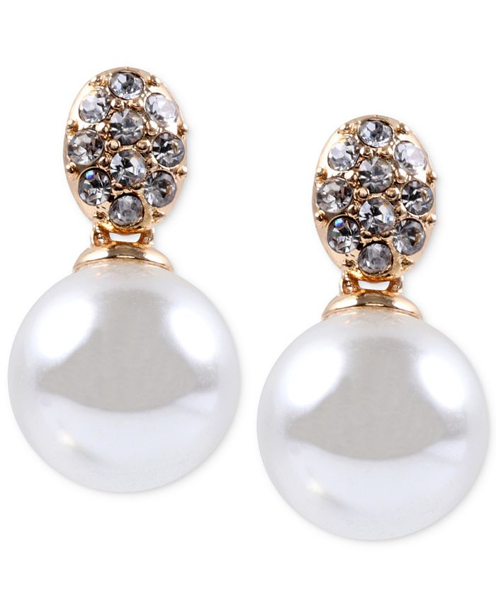 Anne Klein - Gold-Tone Crystal and Glass Pearl Earrings