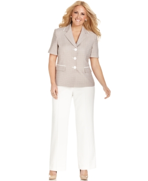 Le Suit Plus Size Short-Sleeve Tweed Jacket Pantsuit