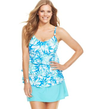 Island Escape Plus Size Tropical-Print Tiered Tankini Top Women's Swimsuit