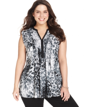 Alfani Plus Size Sleeveless Leopard-Print Pintucked Top