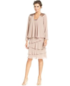 Sl Fashions Sequin-Trim Tiered Dress and Jacket $51.99 AT vintagedancer.com