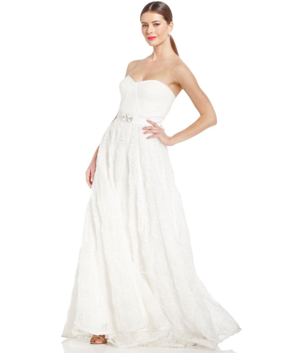 Adrianna Papell Strapless Rosette Gown   Dresses   Women