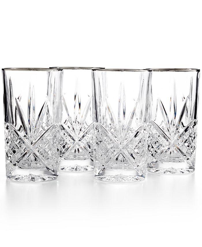 Godinger - Set of 4  Dublin Platinum Highball Glasses