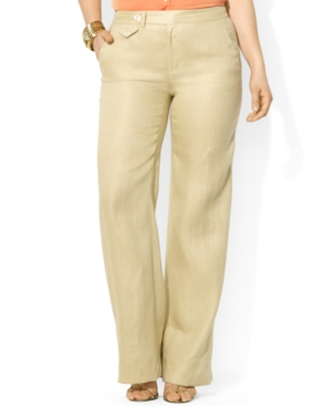 Lauren Ralph Lauren Plus Size Wide-Leg Linen Pants