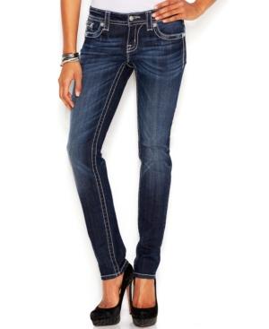 Miss Me Embellished Skinny Jeans, Blue Wash