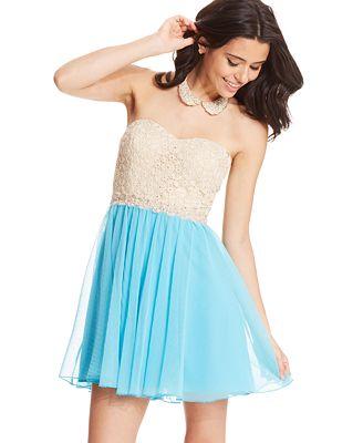 City Studios Juniors' Strapless Lace Tulle Dress - Juniors ...