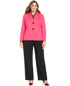 Le Suit Plus Size Textured-Crosshatch Jacket Pantsuit & Scarf