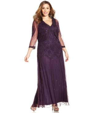Pisarro Nights Plus Size Beaded Drop-Waist Gown and Jacket