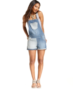 American Rag Paneled Denim Short Overalls $ 59.00