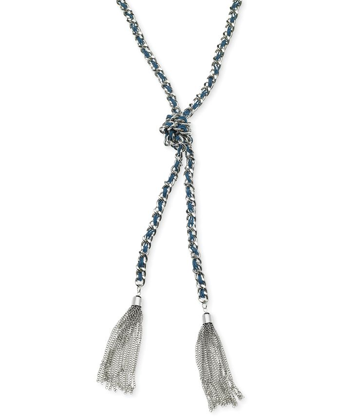 GUESS - Silver-Tone Woven Blue Twisted Tassel Lariat Necklace