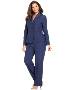 Le Suit Plus Size Pleated Melange Pantsuit