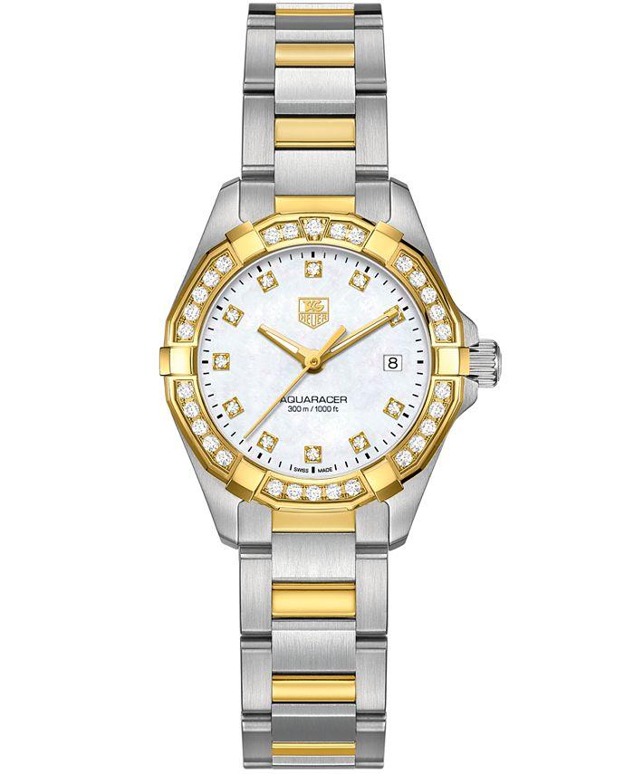 TAG Heuer - Women's Swiss Aquaracer Diamond (9/20 ct. t.w.) 18k Gold-Capped Stainless Steel Bracelet Watch 27mm WAY1453.BD0922