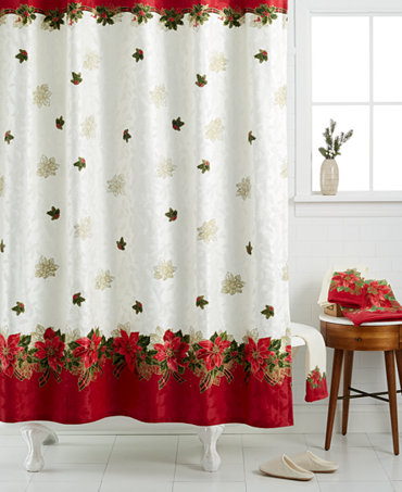 Closeout Lenox Holiday Poinsettia Tartan Shower Curtain Shower Curtains Accessories Bed
