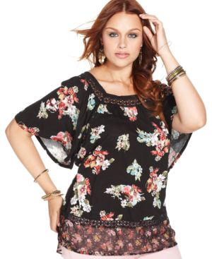 American Rag Plus Size Floral-Print Peasant Top