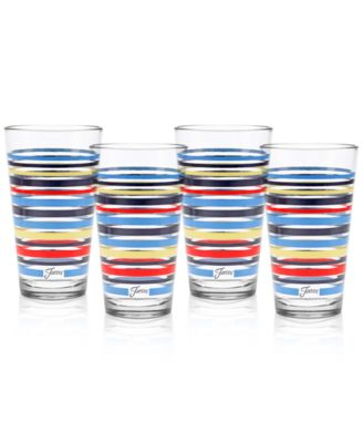 Fiesta Peacock Stripe Set of 4 Highball Glasses