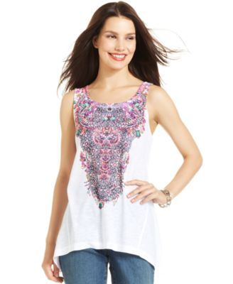 Style&co. Petite Jewel-Print Embellished Tank