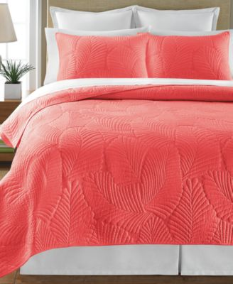 Martha Stewart Collection Atlantic Palm Coral Full/Queen Quilt